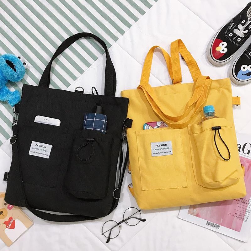 Модная повседневная сумка для девушек, простая холщовая дамская сумочка через плечо, Женский тоут для покупок, повседневный ранец