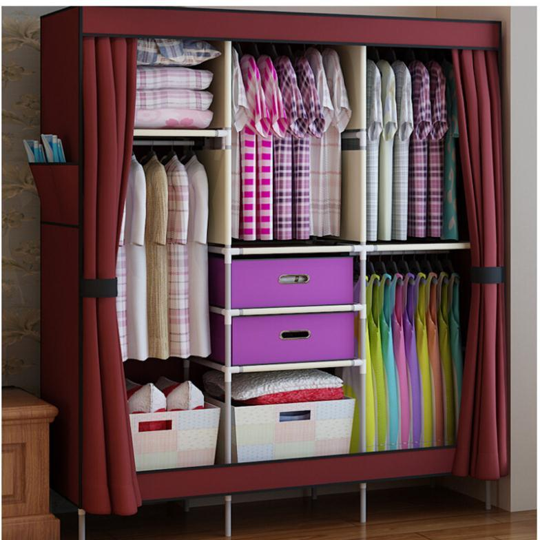 Triple Portable Clothes Wardrobe font b Closet b font Cabinet Garment Rack with 2 Free Storage