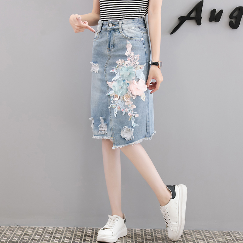 Ozhouzhan Denim Skirt Two-Piece Set Embroidered Denim Skirt Stripes T-shirt Medium-length Denim Skirt WOMEN'S Suit