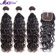 Water Wave Bundles with Closure Maxine Remy Human Hair 3 4 Weave 4x4 Lace