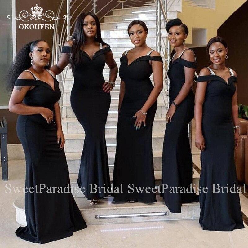Discount Black Mermaid   Bridesmaid     Dresses   Long Vestido Madrinha Off Shoulder African Women Wedding Guest   Dress   Maid Of Honor
