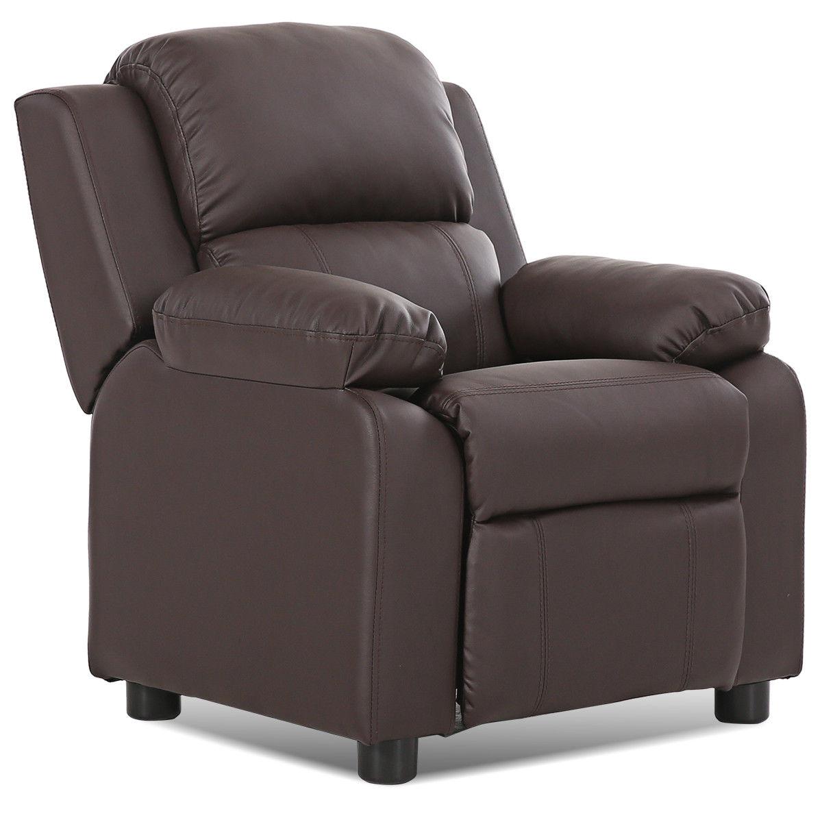 Brown Deluxe Padded Kids Sofa Armchair Recliner Headrest Children W Arms