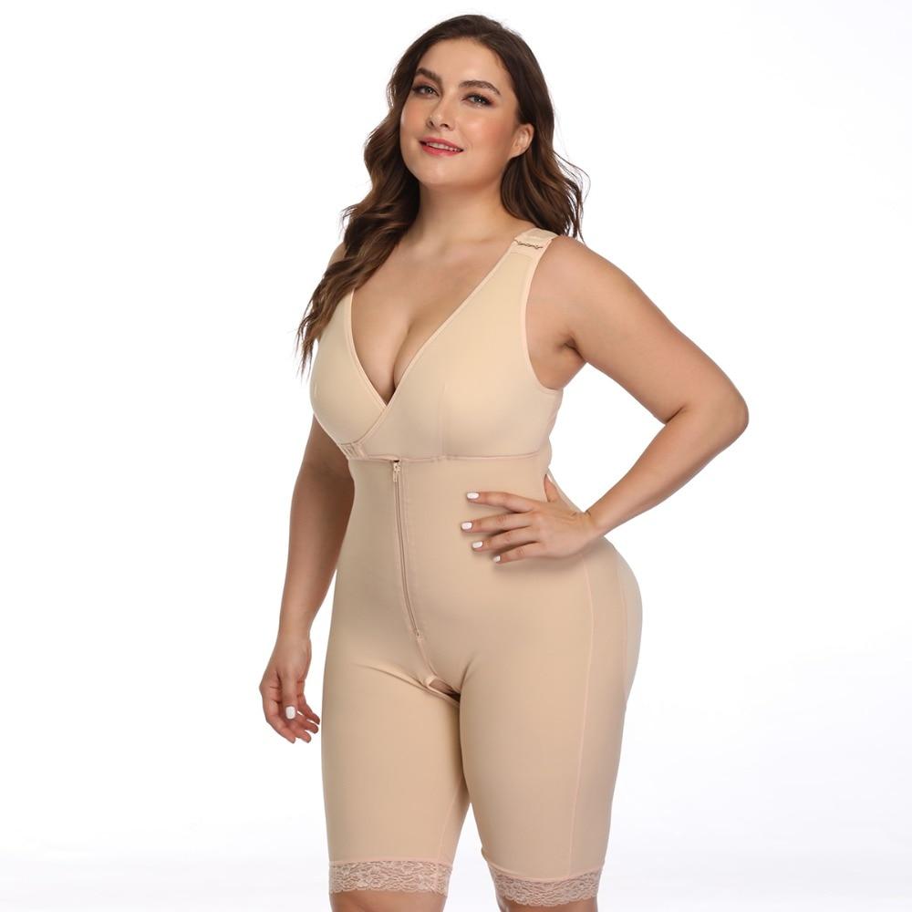 Women's Open Crotch Body Shaper Tummy Control Underwear Black Beige Plus Size 6XL Bodysuit Deep V Overbust Adjustable Shapewear (14)