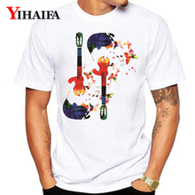 T-Shirt Men Women 3D Print Painted Floral Guitar Funny Graphic Tees Casual White Tee Shirts Summer Unisex Tops недорого