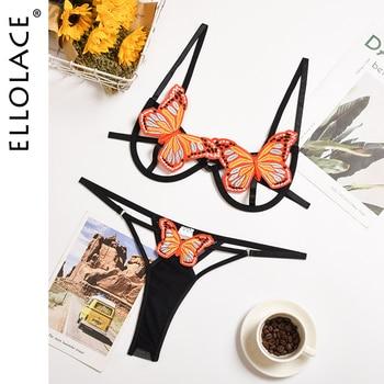 Ellolace Butterfly Bra Set Transparent Lingerie Bra Party Sets Black Female Underwear Set String Women Sexy Lingerie Set 1