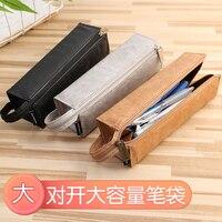 1 pc KOKUYO WSG-PCT22 빈티지 듀퐁 종이 연필 가방 다기능 휴대용 분할 유형 펜 케이스 간단한 편지지 보관 주머니