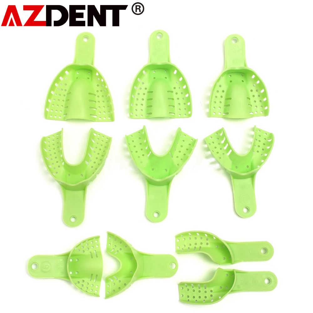 10 יח'\סט שיניים פלסטיק פלדה רושם מגש רושם מתכת רשת 10pcs פלסטיק מתכת חומרי שיניים רושם מגשים