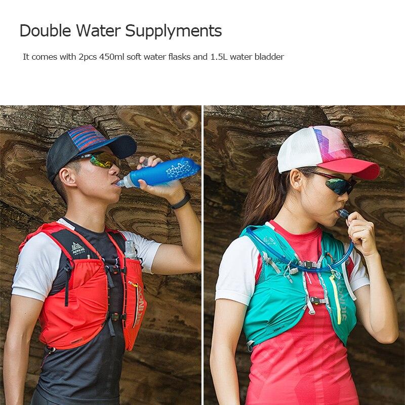 AONIJIE Advanced Skin Hydration Backpack Hiking Trail Running Marathon Race Pack Bag Vest Soft Water Bladder Flask 12L - 6
