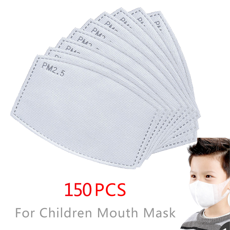 150pcs Children Face Mask 5 Layer PM2.5 Protection Filter Insert Non-woven Fabric Mouth Mask Filter