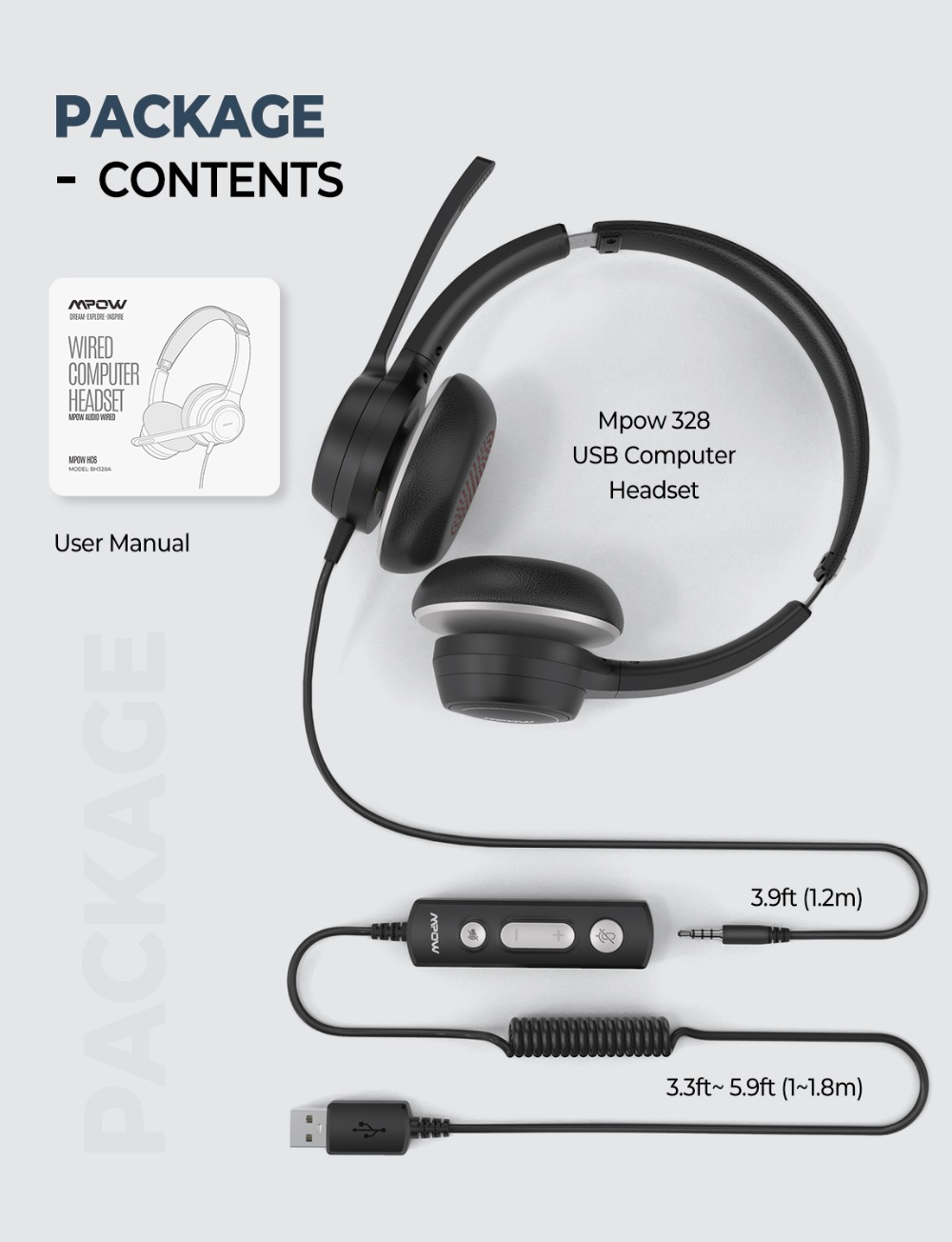 Mpow 328 Wireless Headphones USB 3.5mm Computer Headset With Microphone Noise Reduction Sound Card For PC Skype Call Center Mac (7)