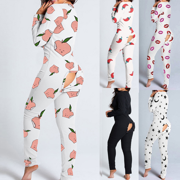 Sexy macacão pijamas feminino recorte butt flap abotoado sleepwear onesies manga comprida com decote em v impressão feminino adultos macacão