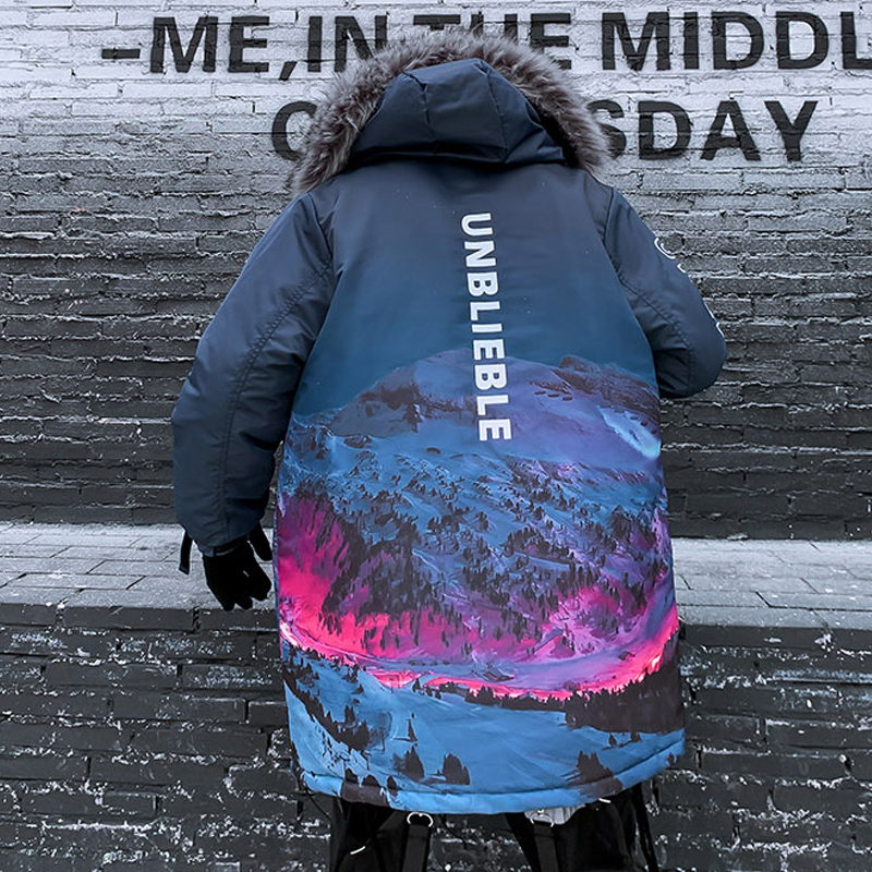 US Size 2019 Winter Parkas Men Women Streetwear Fur Collar Snow Mountain Print Thick Coats Loose Couple Fashion Hiphop DG480