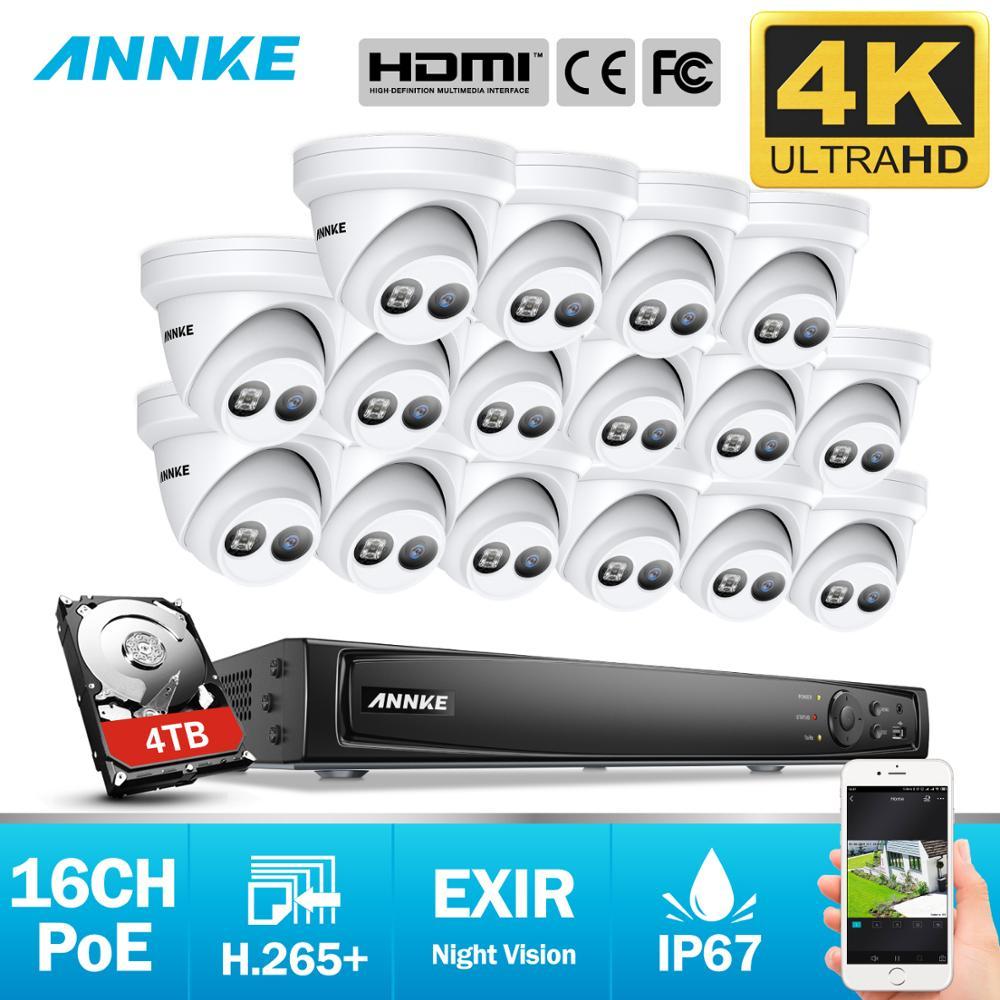 ANNKE 16CH 4K Ultra HD POE sistema de vídeo de red de seguridad 8MP H.265 + NVR con 16 Uds 8MP impermeable IP cámara CCTV Kit de seguridad Sistema de alarma de casa, intercomunicador con alarma Wifi GSM, Control remoto, Autodial, detectores de 433MHz, IOS, Android, Tuya, teclado táctil con Control de aplicación
