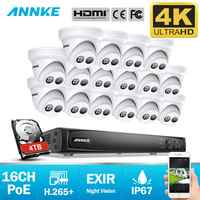 ANNKE 16CH 4K Ultra HD POE sistema de seguridad de vídeo en red 8MP H.265 + NVR con 16 Uds 8MP cámara IP resistente a la intemperie CCTV Kit de seguridad
