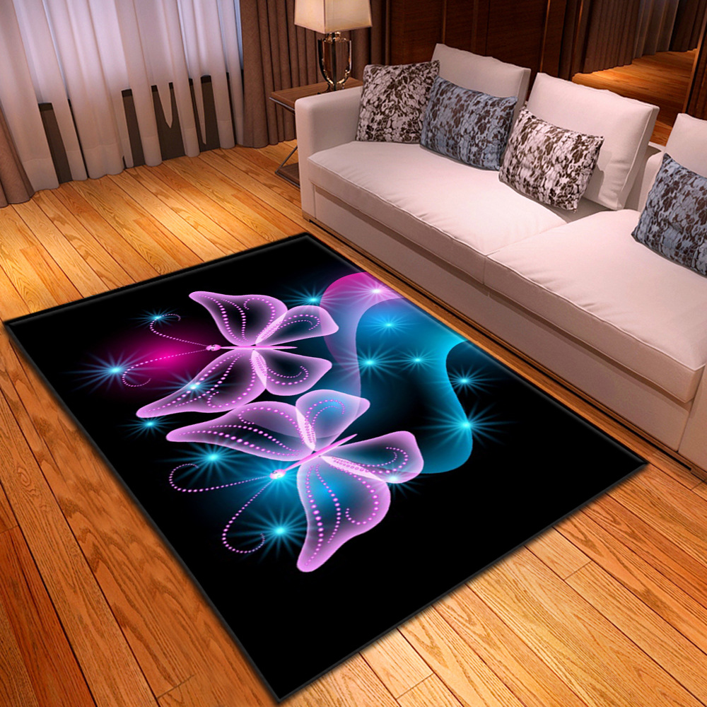 3D Dream Butterfly Pattern Printed Large Size Carpets For Living Room Bedroom Area Rugs Coffee Table Floor Rug Home Decor Mats