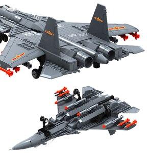 Image 3 - אבני בניין Fit Legoingly 285Pcs צבאי סדרת J15 מבוסס מוביל לוחם MOC מטוס דגם צעצועים למבוגרים ילדים מתנות