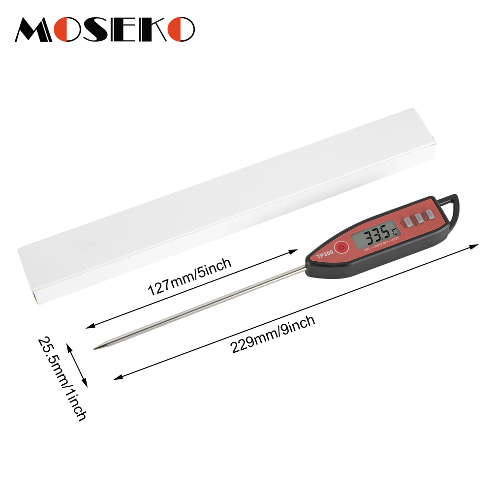 MOSEKO Newest Digital Food Thermometer for Cooked Food Barbecue and Milk with LCD Display and Temperature Control Key and Stainless Steel Probe 5