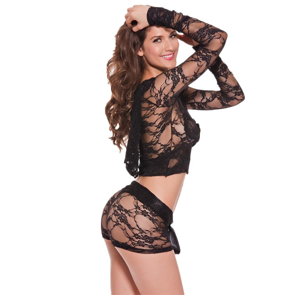 Women Sexy Stripper Clothes Transparent Dancewear Sets Lace Hood Long Sleeve Zip Top And Shorts 2 Piece Set Underwear Nightwear