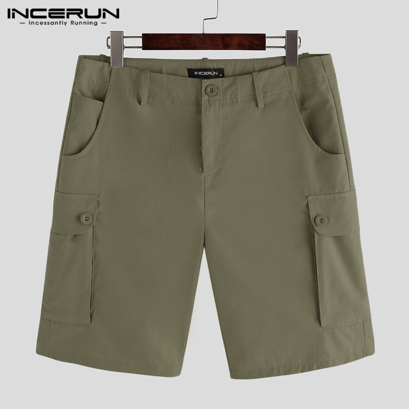INCERUN Summer Men Shorts Solid Color Button Streetwear Multi-pockets Casual Fashion Men Knee Length Cargo Shorts Plus Size 2020
