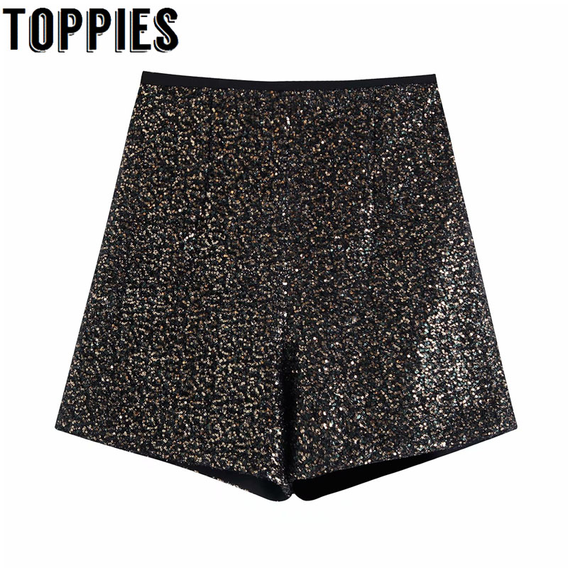 2019 Winter Black Sequined Shorts Harajuku Streetwear High Waist Bermuda Shorts Women