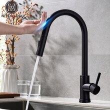 Trek Sensor Zwart Keukenkraan Gevoelige Touch Control Kraan Mixer Voor Keuken Touch Sensor Keuken Mengkraan