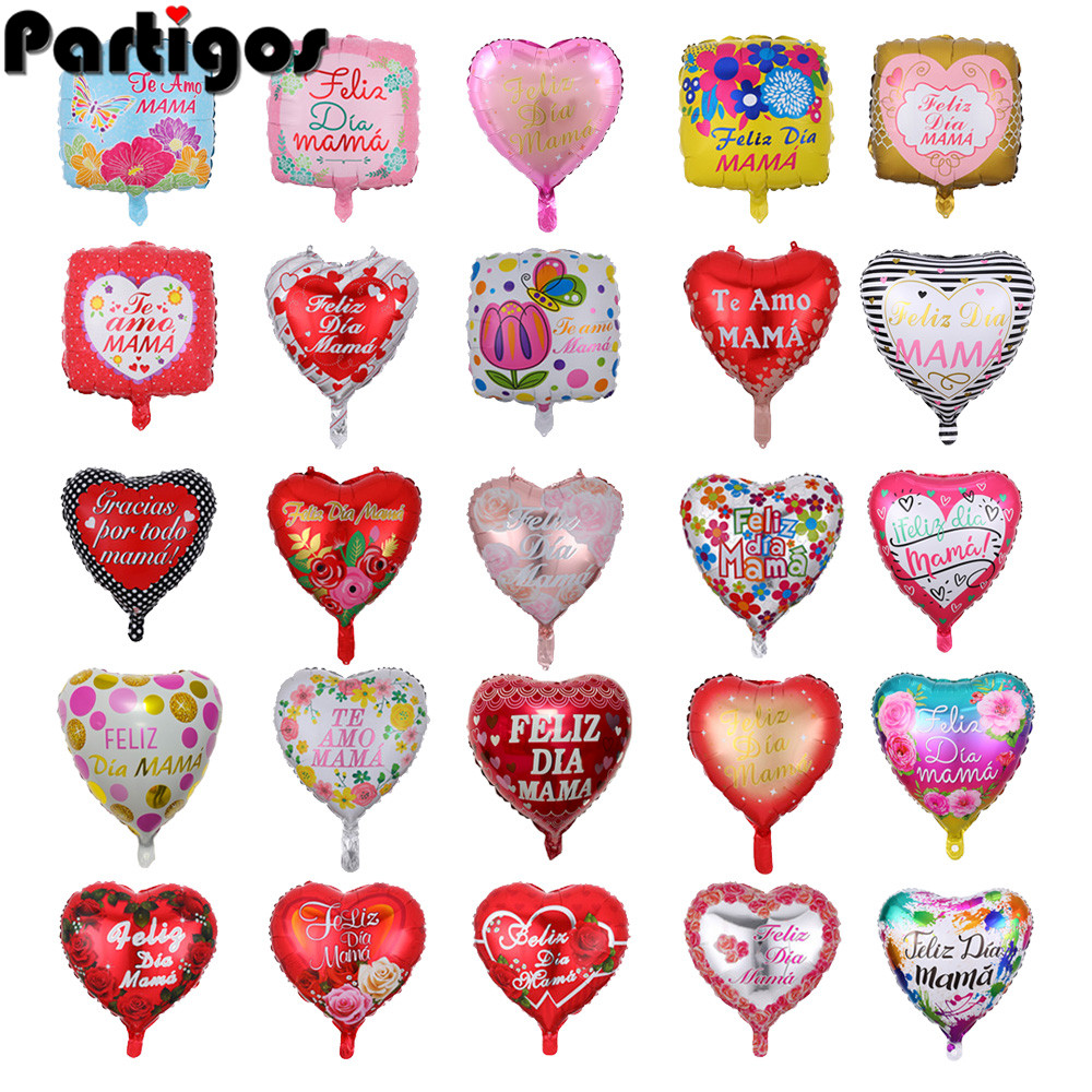 10pcs 18inch Printed Spanish mother Foil Balloons Mother's Day Heart Shape Love Globos Decor Mama Balloon Gifts Balloons