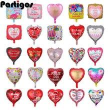 10 pçs 18 polegada impresso espanhol mãe foil balões dia da mãe forma do coração amor globos decoração mama balão presentes balões
