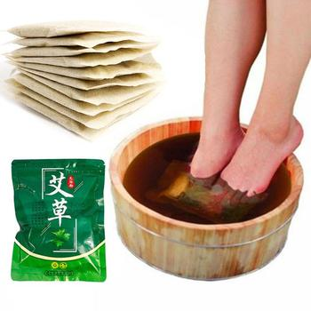 Polvo de cuidado de la salud de los pies para la familia invierno Dispel Coldness calmante lavado planta Natural hierbas hojas de Moxa 30 Uds bolsa de baño de pies
