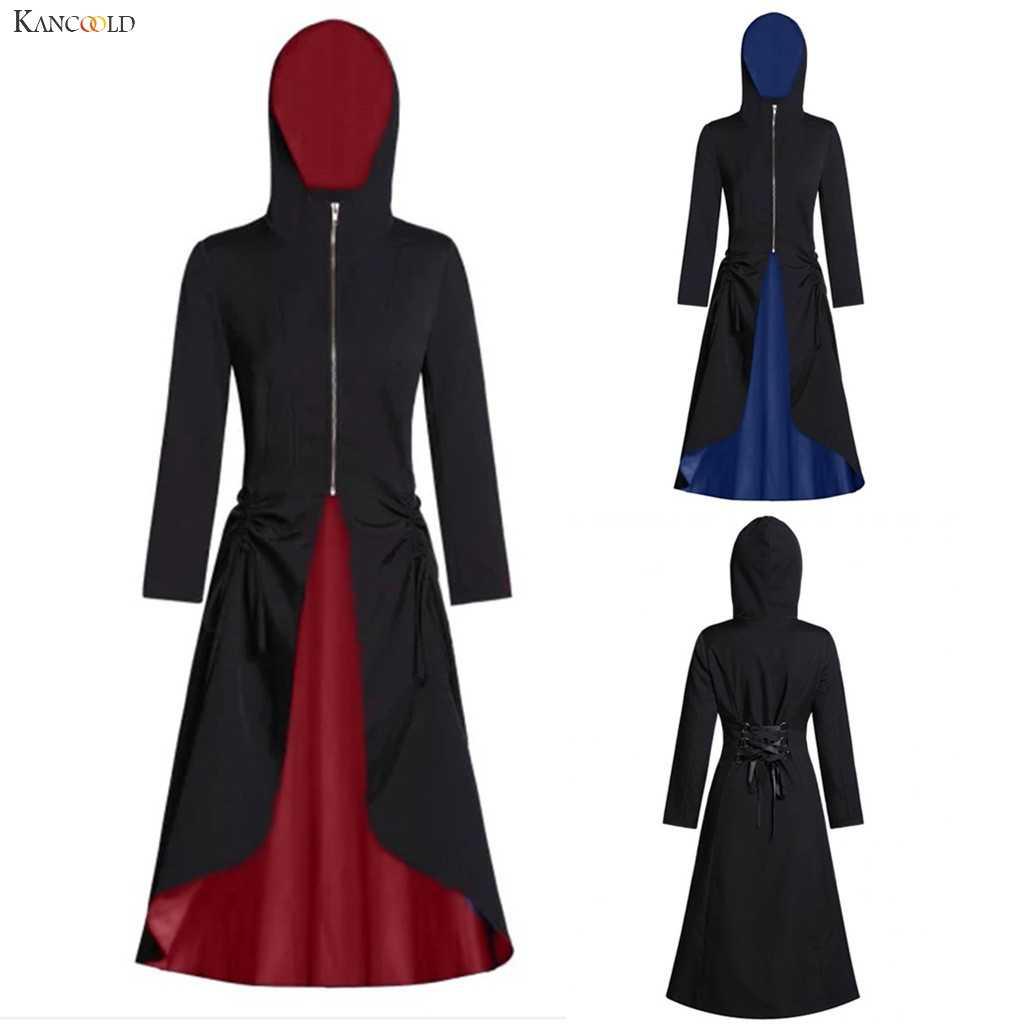 KANCOOLD пальто женское Винтажное с капюшоном на молнии спереди цвет блок длинное пальто с рюшами сзади повязки вечерние женские пальто и куртки 2019Oct9
