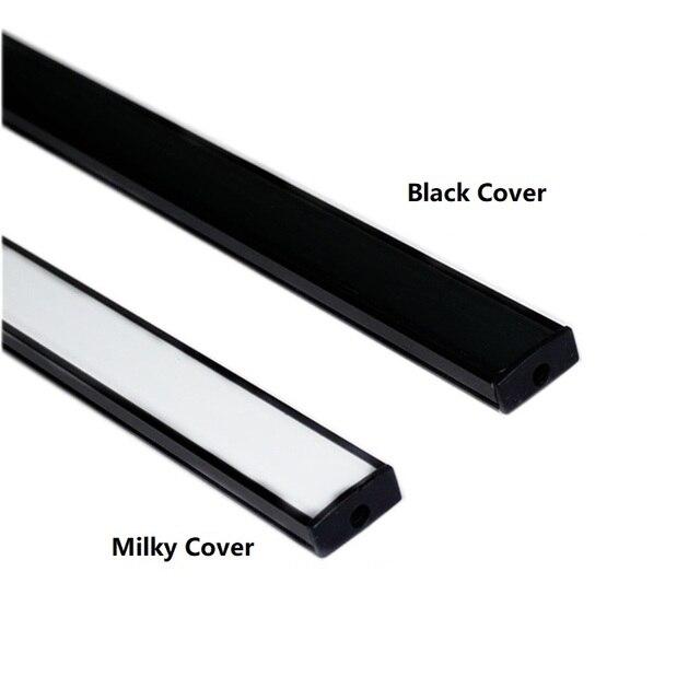 0.5m 20 Inch Flat U LED Strip Black Profile ,5V 12V 24V 3V Tape Light Cover,Under Counter Cabinet Bar Channel Housing Diffusser