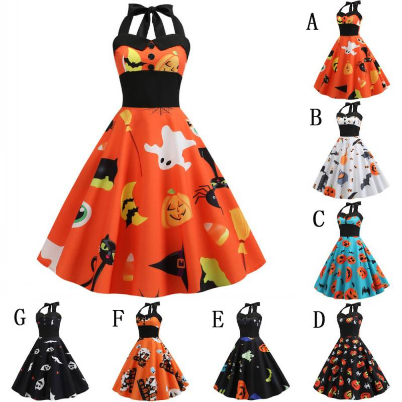 <font><b>Halloween</b></font> Costume <font><b>Dress</b></font> <font><b>Women</b></font> Sleeveless Retro Vintage <font><b>Dress</b></font> A Line Pumpkin Swing <font><b>Dresses</b></font> Party Costume <font><b>Sexy</b></font> canonicals image