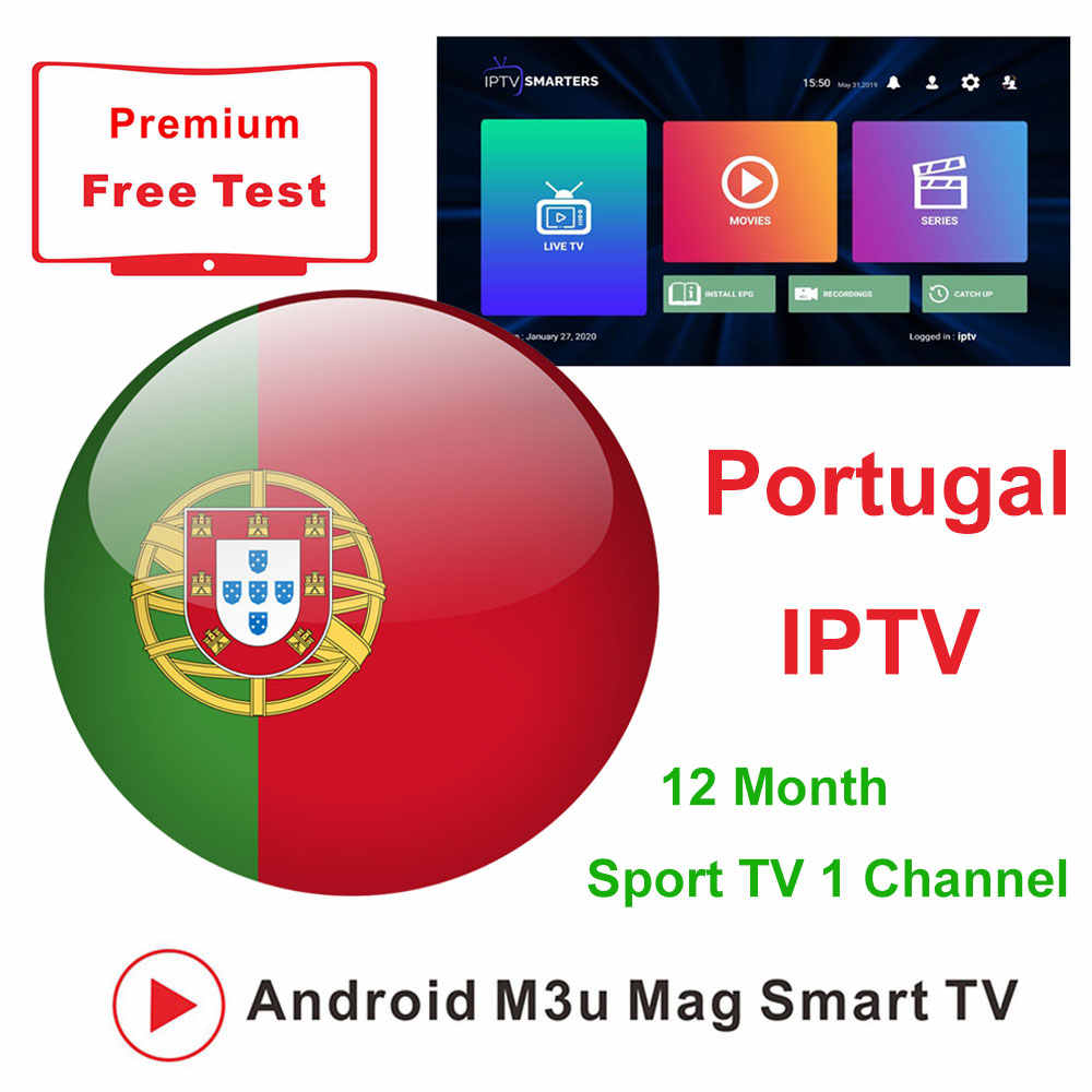 Portugal IPTV 1 an M3U abonnement Euro Sport NBA Live TV film avec adulte pour Smart TV Box Enigma2 IPTV Smarters Smartphones