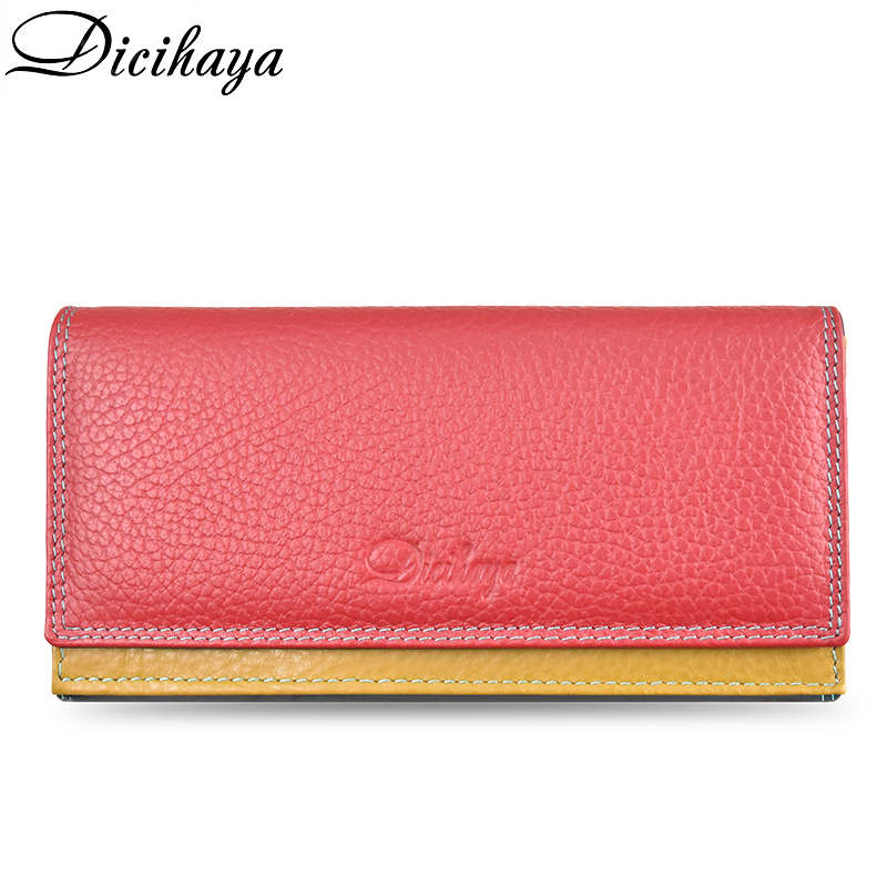 DICIHAYA Contrast Color Genuine Leather Women Wallet Purse Female Luxury Leather Long Women's Handbag Genuine Leather Pouch
