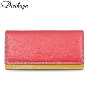 Image 1 - DICIHAYA Contrast Color Genuine Leather Women Wallet Purse Female Luxury Leather Long Womens Handbag Genuine Leather Pouch