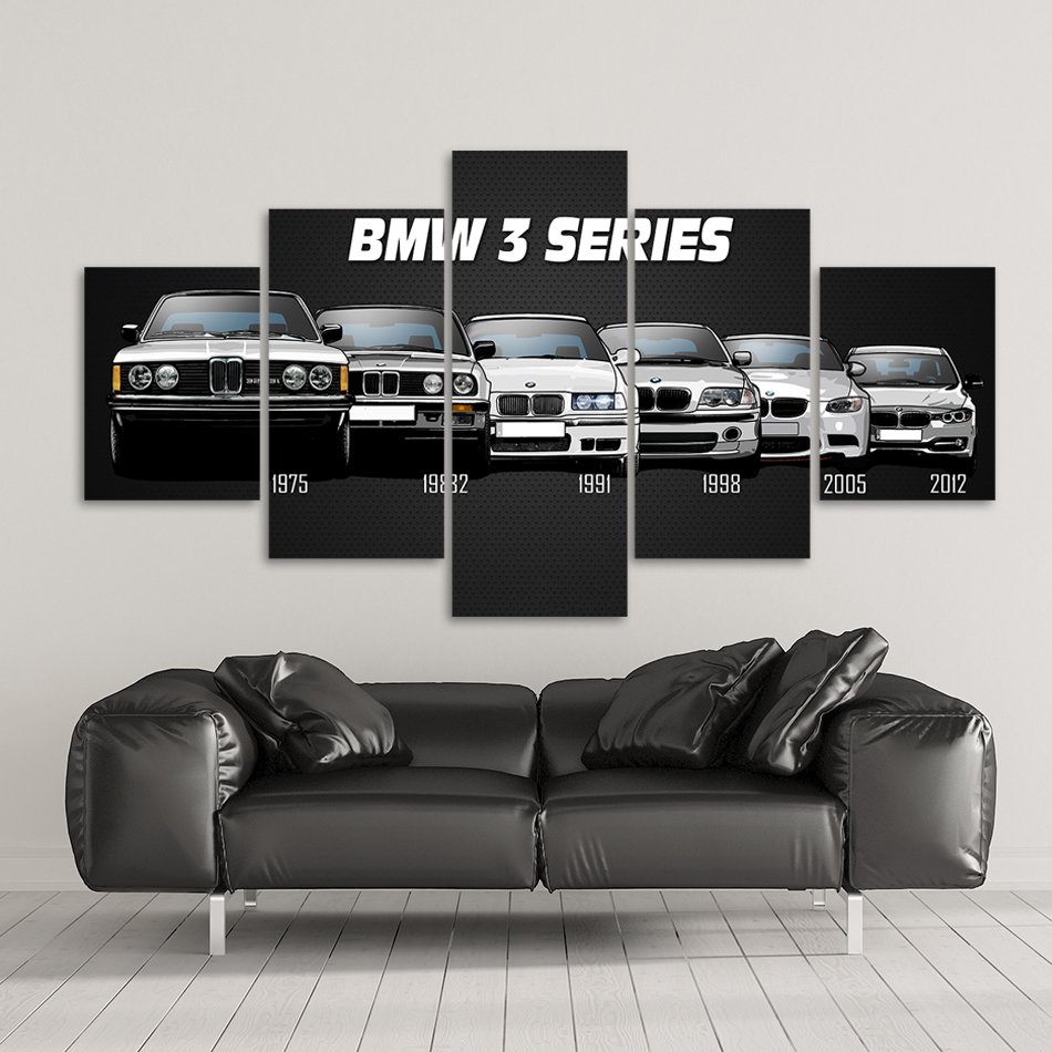 Canvas Printed Poster Home Decor 5 Pieces HD Bmw M3 M5 White Sport Car Paintings Wall Art Pictures Living Room Modular Framed