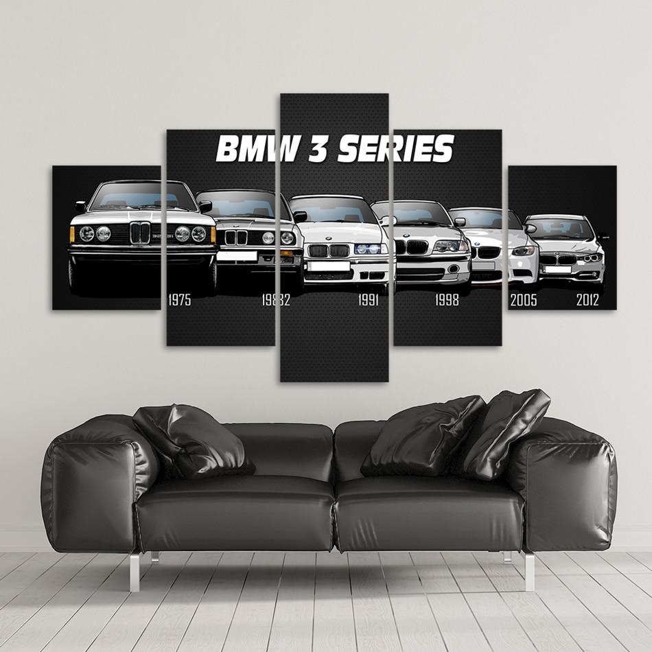 Leinwand Gedruckt Poster Home Decor 5 Stück HD Bmw M3 M5 Weiß Sport Auto Gemälde Wand Kunst Bilder Wohnzimmer modulare Gerahmte