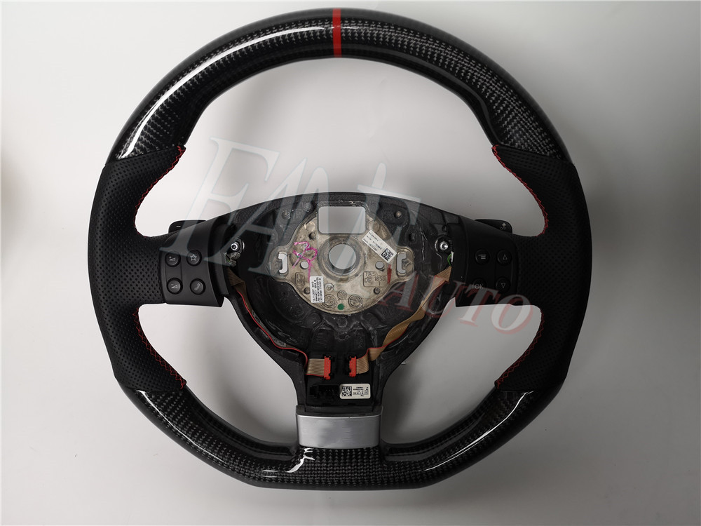 Replacement Real <font><b>Carbon</b></font> Fiber Steering Wheel with Leather for <font><b>VW</b></font> Volkswagen <font><b>Golf</b></font> Mk5 <font><b>5</b></font> <font><b>GTI</b></font> 2003-2009 image