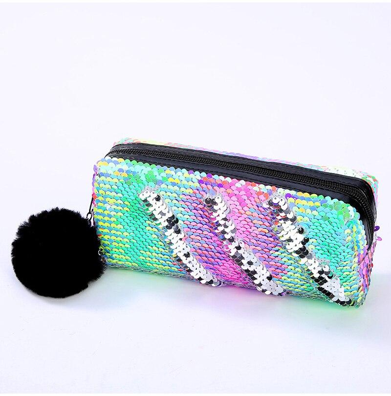 Fashion Reversible Sequin Pencil Case For Girls School Stationery Supplies Super Big Gift Magic Color Pencil Bag Box Pencilcase