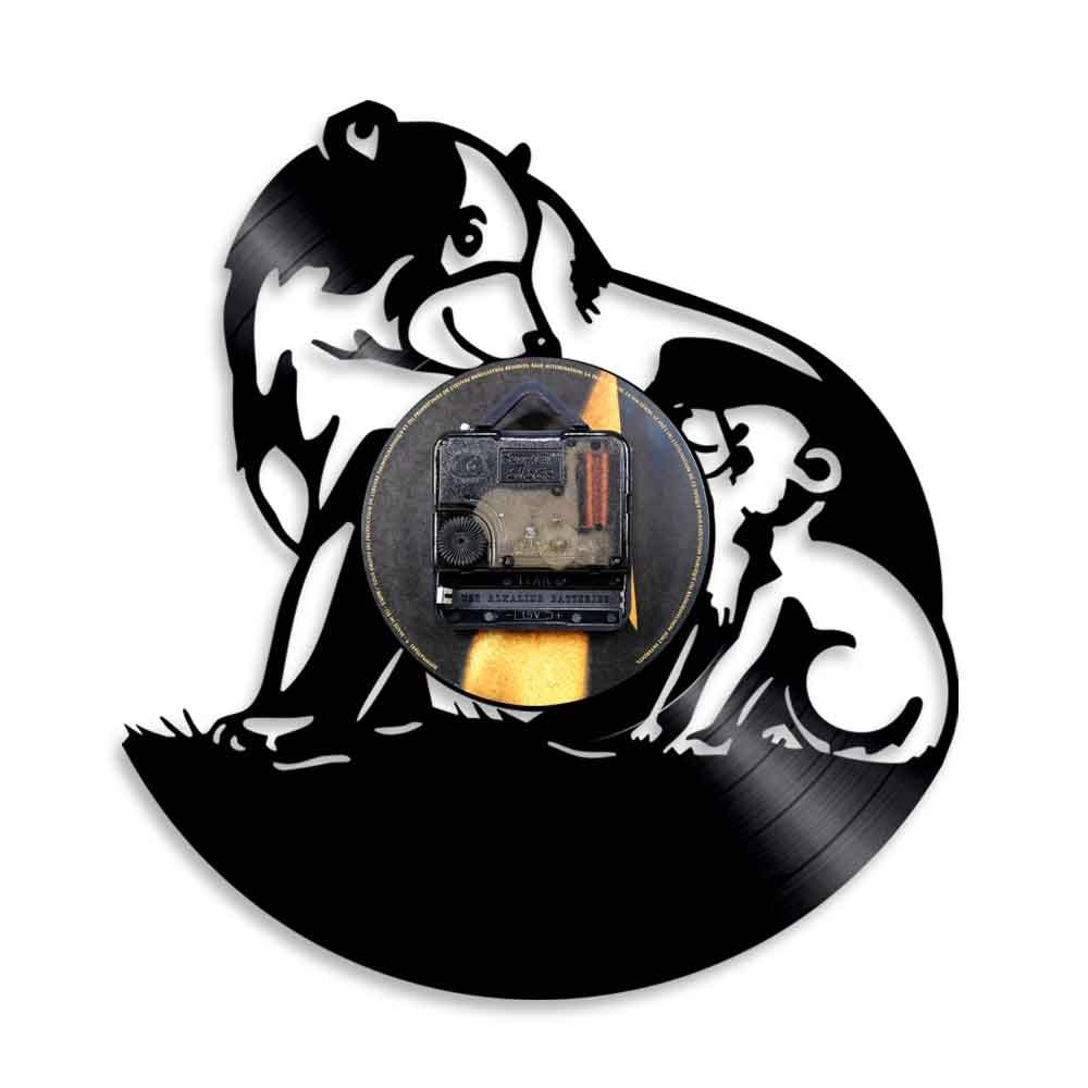 Urso preto família silhueta lâmpada de parede