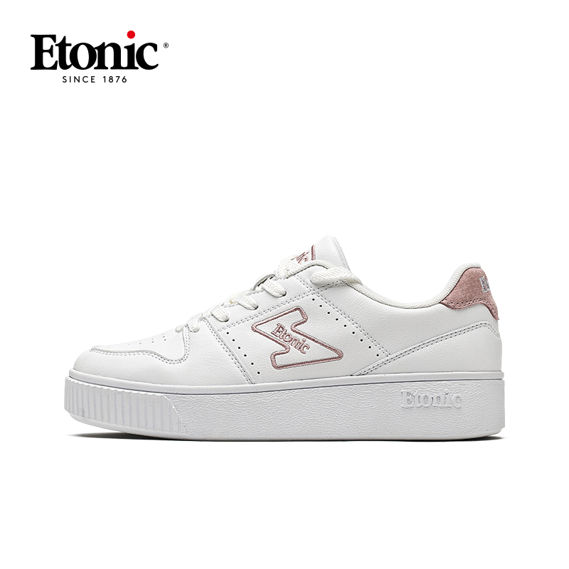 ETONIC Women Sneakers Original Skateboarding Shoes Breathable Soft Sneakers Woman Air Force 1 Casual Shoes White/Pink/Apricot