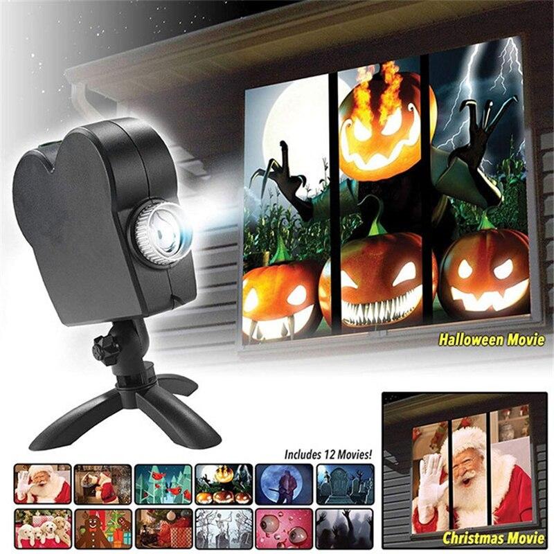 12 films en mouvement LED fenêtre affichage scène lumière projecteur lumière noël Halloween projecteur paysage noël décoration ue/US