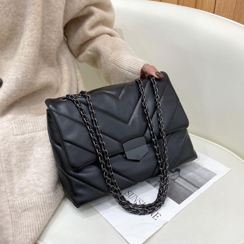 V Pattern Quilted Shoulder Bags for Women 2020 High Quality Pu Leather Flap Messenger Bag Female Noble Temperament Sling Handbag