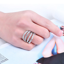 NJ Cool Multi Layer Fashion Silver Ring For Woman Sparking Crystal Lady Wedding Party Gift Jewelry