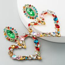 KMVEXO Hollowed-out Hanging Colorful Crystal Heart Drop Earring 2020 New Dangle Vintage Earrings Jewelry Accessories for Women artificial crystal floral hollowed heart drop earrings