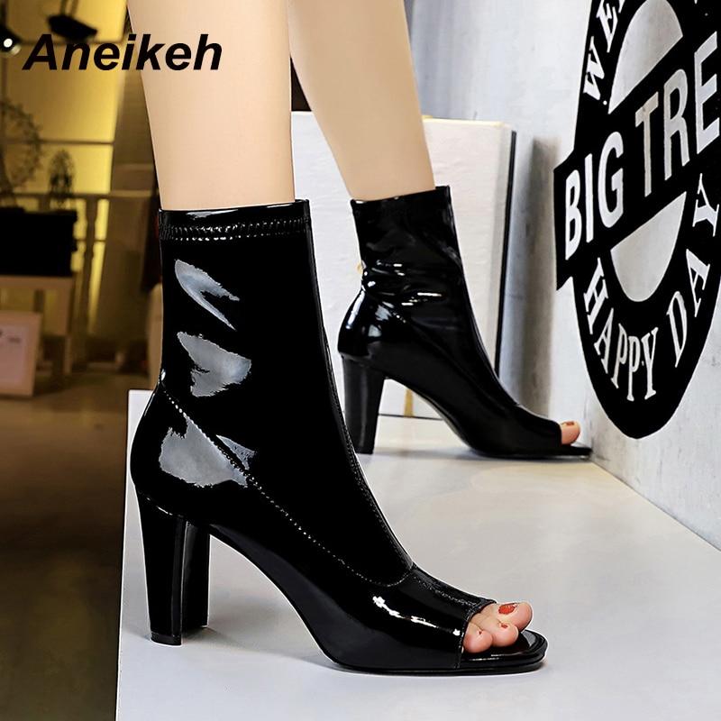 Aneikeh-zapatos Chelsea de media pantorrilla para mujer, botas de charol para costura, tacón cuadrado, Punta abierta sin cordones, color negro, talla 34-40