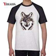 Harajuku Wolf 3D Print T Shirts Hipster Animal Graphic Tees Men Casual White Cotton T-Shirt Streetwear Tee Summer Tops men wolf 3d print tee