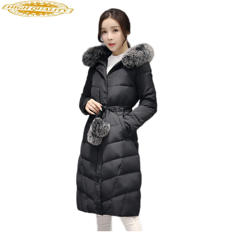 Long Duck Down Jacket Women Winter Fox Fur Collar Korean Coat Femenino Thicken Womens Coats Casacas Para Mujer KJ372