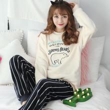 2 шт бархатный пижамный комплект Осень Зима Женская одежда для