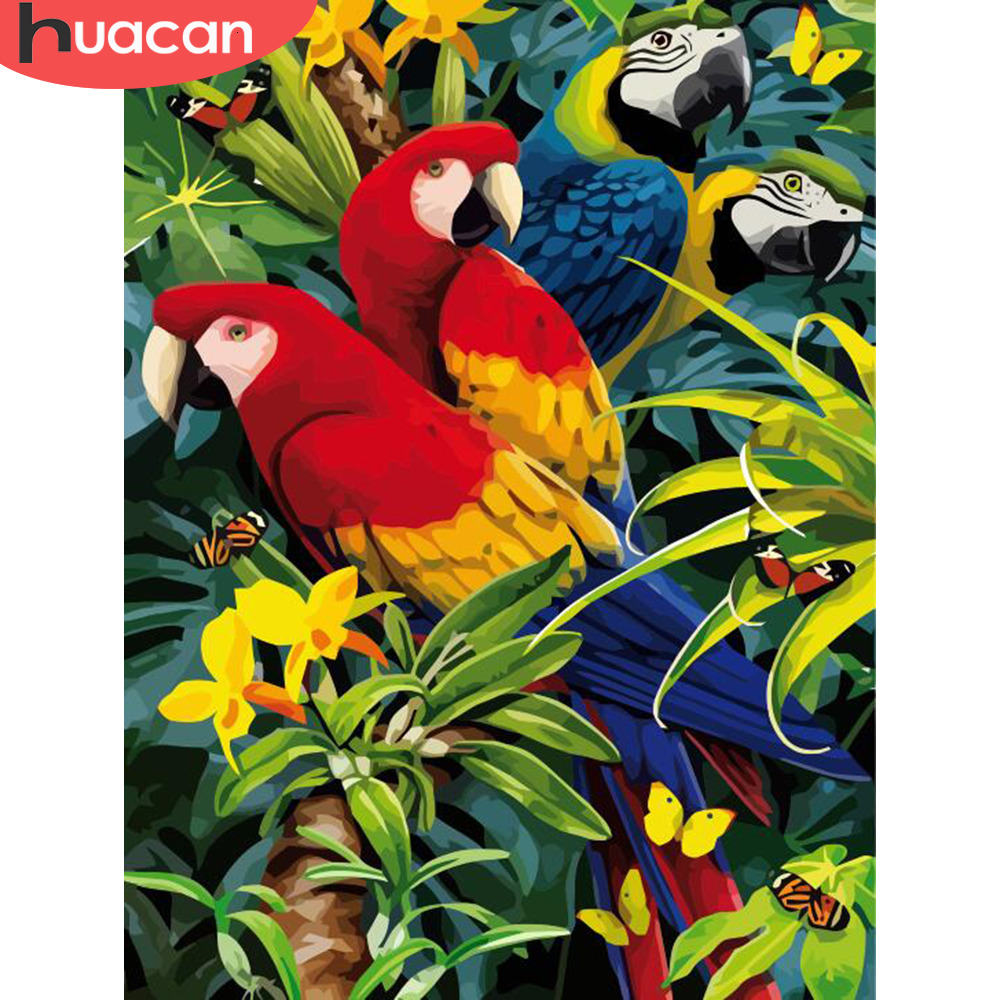 HUACAN Paint By Number Animal HandPainted Kits Drawing Canvas Parrot Picture DIY Art Home Decoration Gift