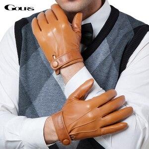 Image 1 - Gours guantes de piel auténtica para hombre, guantes de piel de cabra a la moda, negros, para conducir, con pantalla táctil, GSM036